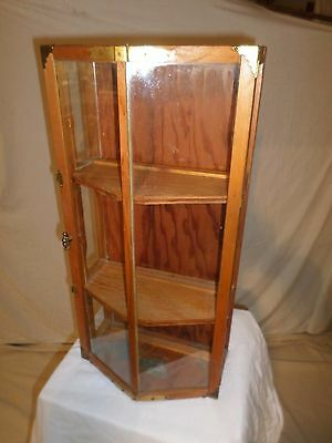 Vintage HANDCRAFTED CURIO DISPLAY CABINET  - V-FRONT DOOR - BRASS HARDWARE