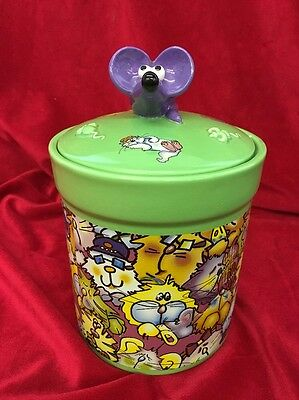 Debby Carman Cat Treat Jar w/ Mouse Lid