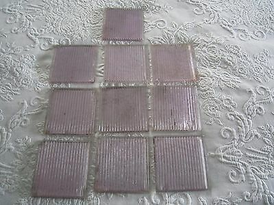 "10 Antique Frank Lloyd Wright or Luxfer PURPLE GLASS 4"" SAWTOOTH TILES"