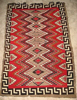 Rare Antique Red Mesa Navajo Indian Pictorial Outline Rug/blanket