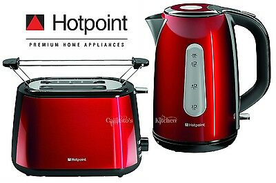Kettle and Toaster Set Hotpoint My Line Red Kettle & 2-Slice Toaster New