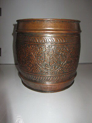 Arts & Crafts Copper Chased Bucket Planter