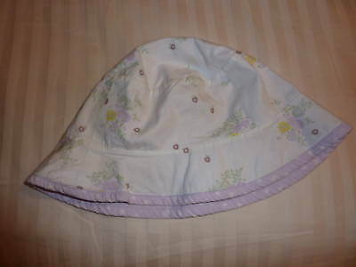 Lilac  / White Floral Baby  Hat 9-12 Months Cherokee