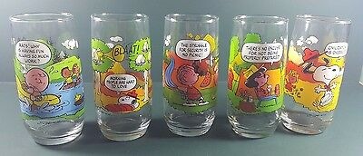 """Vintage set of (5)  McDonald's Camp Snoopy Collection 6"""" Glasses"""