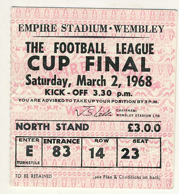 Ticket : 1968 League Cup Final Leeds United v Arsenal