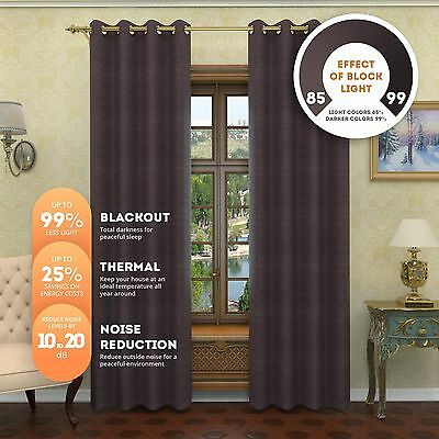 NEW- Premium Textured Thermal Weaved Heavy Duty Blackout Curtain Noise Reduction