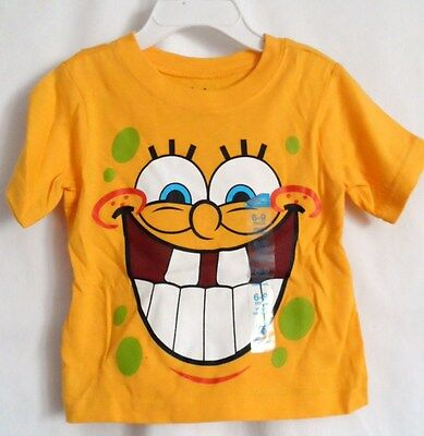 Boys 6-9 Month Goldenrod Large Spongebob Squarepants Teeth Shirt Nwt Nickelodeon
