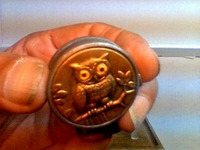 Antique Tin Tape Measure Owl W/ Glass Eyes Germany C.1920