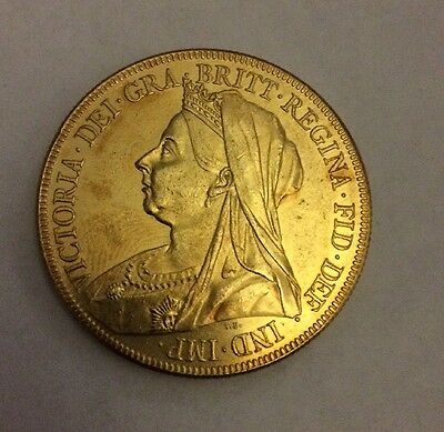 1893 Queen Victoria 5 Pound Coin Gold Plated £5 Sovereign