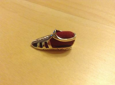 Solid Sterling Silver 925 Minature Shoe Pin-Cushion with Red Insert cushion