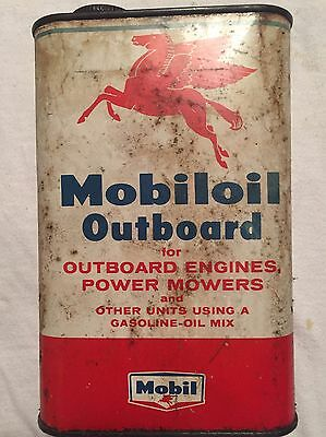 The MOBILoil OUTBOARD motor oil 1 quart VINTAGE SOCONY Mobil Pegasus OLD Can