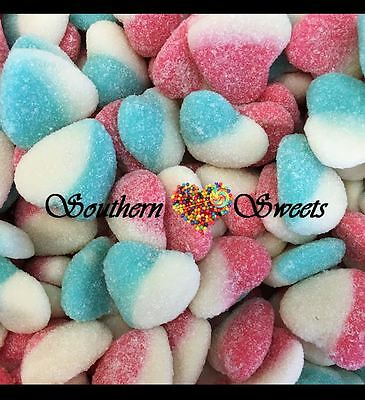 Pink White Blue  Lollies Soft Sour Hearts 1Kg Gluten Free Lollies Baby Shower