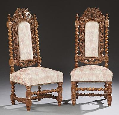 GORGEOUS Pair of French Henri II Style Carved Side Chairs, 19th century, 1800s