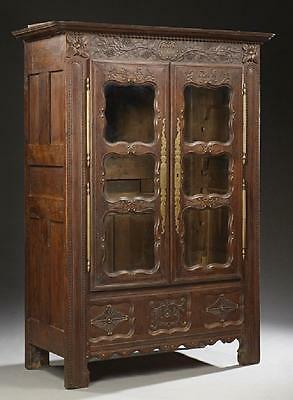 French Nicely Carved Oak Armoire or Bookcase, 18th c., 1700s