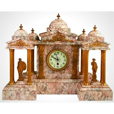 STUNNING Three Piece Gilt Spelter and Violette Marble Clock Set, 19th c., 1800s