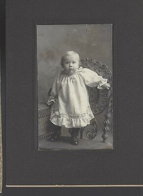 Vintage Baby Standing on Chair  Photo Cabinet Card Iowa