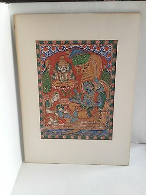 Antique 19th Century Indian Print Applied With Opaque Watercolor / Cosmic Vishnu