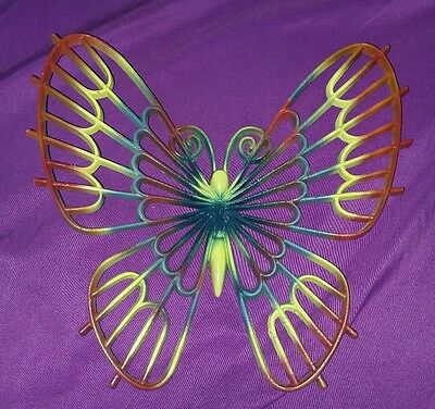 Vintage HOMCO Burwood Products Butterfly Wall Hanging wicker look 10 in Rainbow