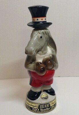 Vintage Jim Beam Donkey Decanter Democratic Party Wearing Boxing Gloves 1964