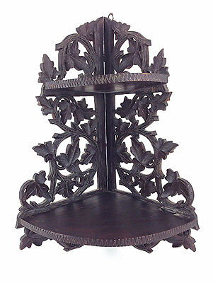 Antique carved walnut Victorian wall hung corner shelf 2-TIER ORIGINAL FINISH