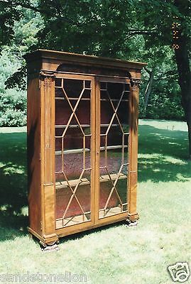 RARE Antique 1830's ' JOHN NEEDLES ' Mahogany Baltimore Wardrobe Bookcase ORIGIN
