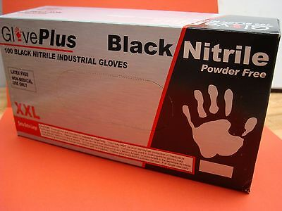 XXL **OVERSTOCK ** Black Nitrile Gloves 100/Box 5 mil Latex&Powder FREE