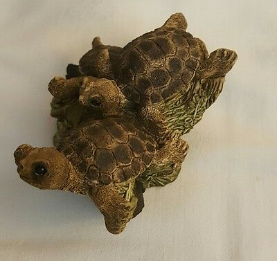 Stone Critters 3 Water Turtles United Designs new sculpture painted