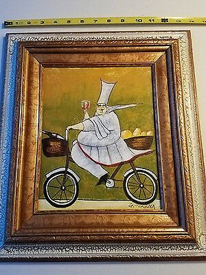 Beautiful Oil on Canvas Painting Framed.   Chef