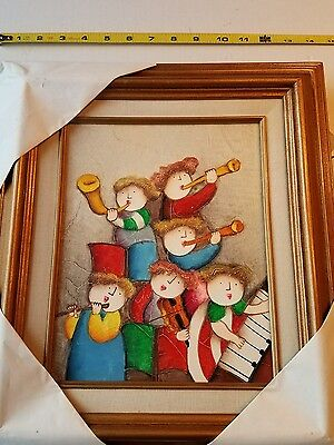 Ryobi  Colorful Intrumental Kids Beautiful Oil on Canvas Painting Framed.
