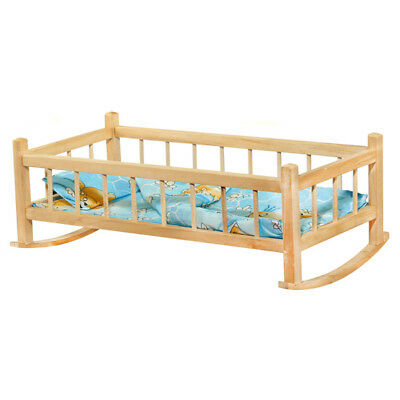 Doll's Cradle Bedding Dolls Bed Wood Puppenwiege Dollhouse Furniture Wooden