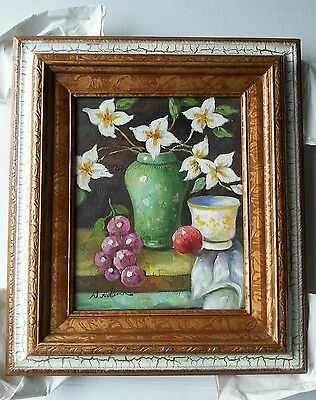 "Vintage Floral Painting Oil on Canvas 8"" X 10"" wood Framed Colorful"