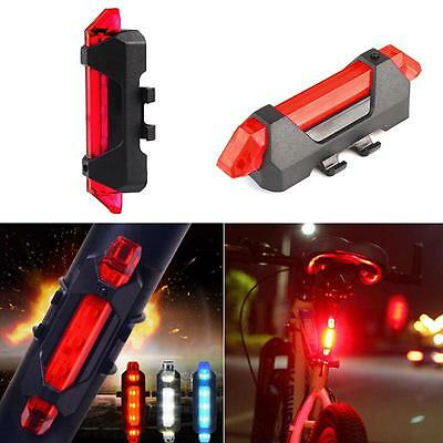 New 5 LED Bicycle Cycling Tail USB Rechargeable Red Warning Light Bike Rear HW