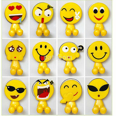 Cartoon Yellow Expression Emoticon Emoji Suction Cup Toothbrush Holder Hook US