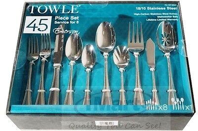 45Pcs Towle 18/10 Stainless Steel Cutlery Set Dinner Spoons Forks Knives New
