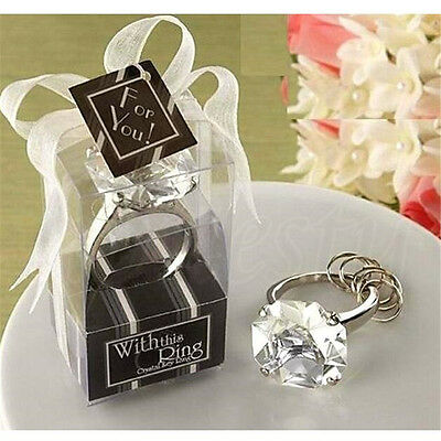 Big Size Faux Diamond Silver Ring Keychain Wedding Bridal Ribbon Decor Gift New