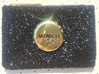 Mimco Tiny Sparks Black & Gold Glitter small pouch clutch wallet purse Genuine