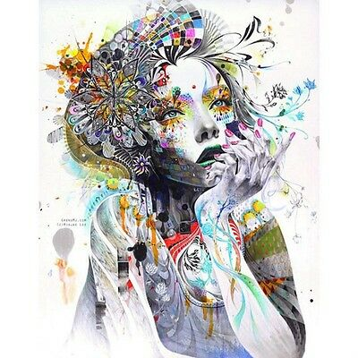 Modern Abstract Wall Art Girl Flowers Oil Painting Print on Canvas No Frame WT