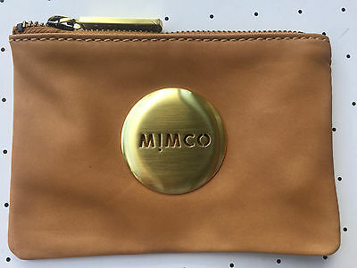 Mimco Honey tan small pouch clutch wallet purse sheepskin leather Authentic