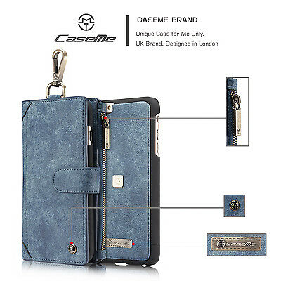 Magnetic Flip Leather Removable Wallet Zipper Case Cover For iPhone 6 6s 7 Plus