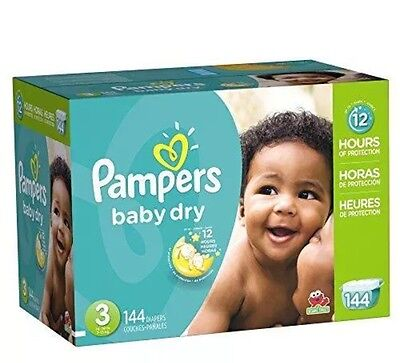 Pampers Baby Dry Diapers Size 3, 144 Count New