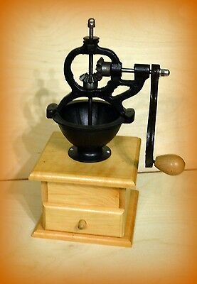 Cast Iron and Wooden Coffee Grinder mill Side Hand Cranked - ANTIQUE STYLE