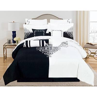 Full Queen King Bed Bag Black White Scroll Embroidery 12pc Comforter Set Bedding