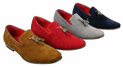 Mens Suede Leather PU Slip On Driving Shoes Loafers Tassel Red Grey Blue Brown
