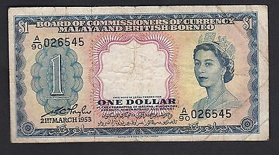 Bpard of Commissioners of Currency 1953 QE 2 $1 banknote
