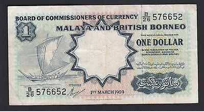 Board of Commissioners of Currency Malaya & british Borneo $1 note