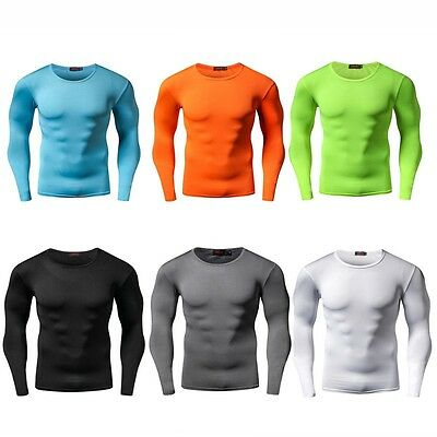 Men Sports Compression Under Skin Base layer Long Sleeve T-Shirt Athletic Top AU