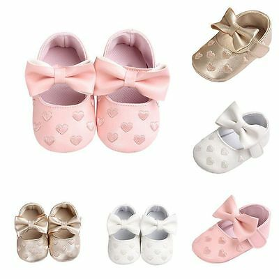 Toddler Baby Girl Crib Shoes Infant Kid Bowknot Soft Sole Prewalker Sneakers New