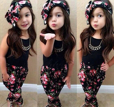 Kids Girls Baby 3PCS Set Floral T-shirt Pants Headband Outfits Clothes Age 2-8T