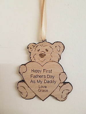 Personalised First Fathers Day Gift Engraved Teddy Bear Wooden Keepsake Plaque