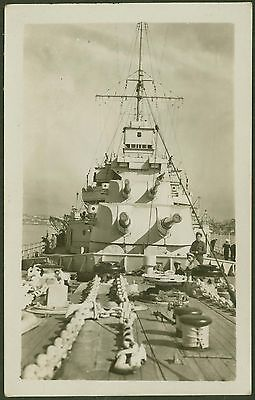 Royal Navy - A View of HMS Cornwall Taken on the Foc'sle - Real Photo Postcard